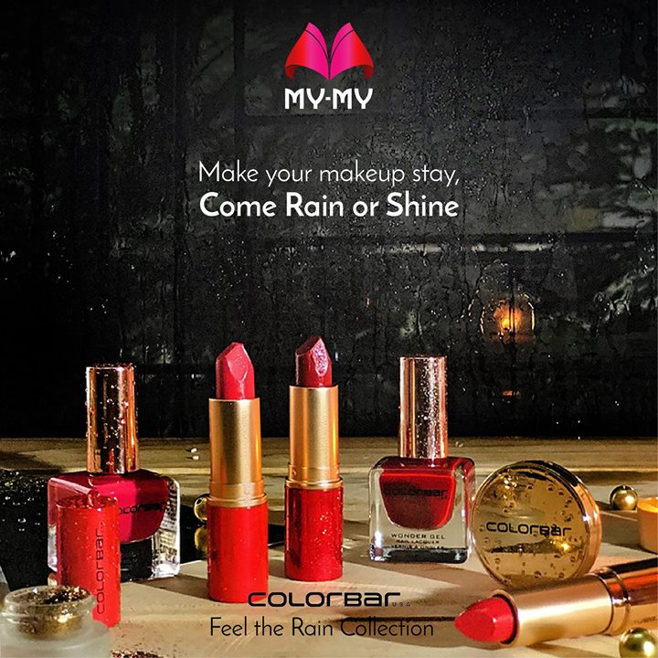 Resist the weather woes and make your makeup last all day with ColorBar's Feel the Rain limited edition collection! Get your hands on it now!  Visit your nearest My-My shop located at C.G. Road and S.G. Highway and check out our wide range of cosmetics and skin care collection.  #MyMyAhemedabad #ColorBar