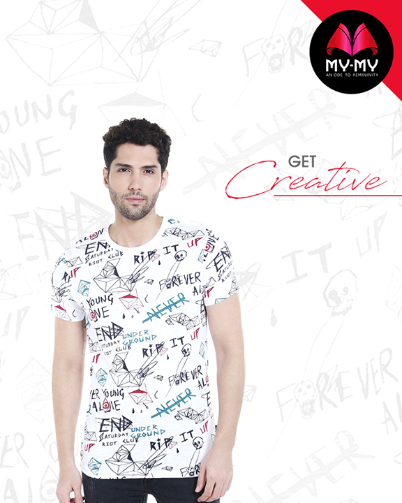 Make your mark with this off beat t-shirt  #GetCreative #MensFashion #NewTrend #MyMyAhmedabad