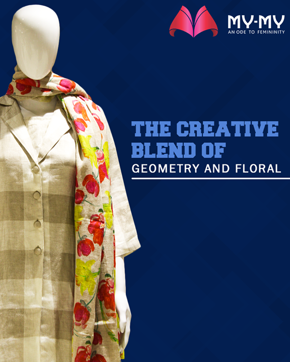 Invoke the fashionista in you and swathe yourself with the creative blend of geometry & floral.  #GeomatryNFloralBlend #FallForFashion #MyMy #MyMyCollection #ExculsiveEnsembles #ExclusiveCollection #Ahmedabad #Gujarat #India