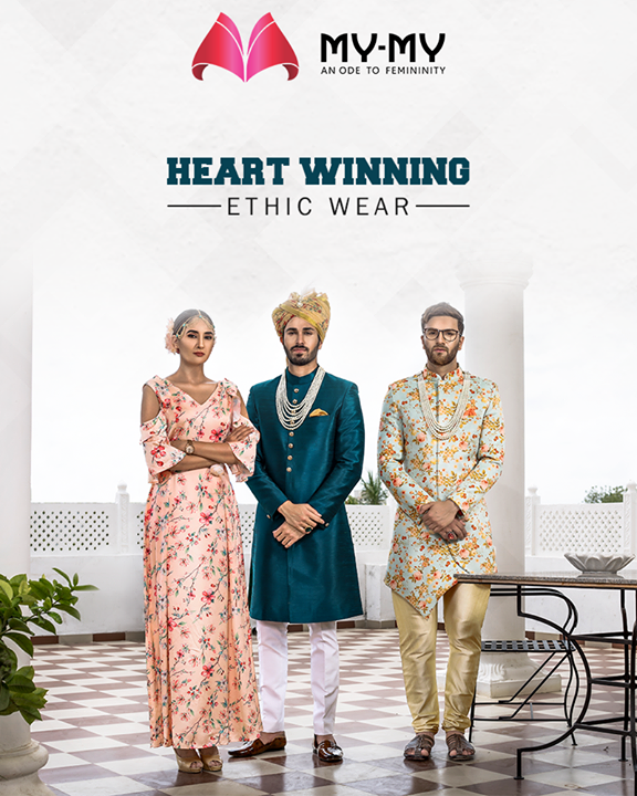 Sharpen your traditional appearance and catch all the glam light by adorning the heart-winning ethnic wears from My-My.  #HeartWinningEthnicWears #BridalCollection #BridesOfIndia #BridalWear #TraditionalWear #FemaleFashion #Ahmedabad #EthnicWear #Elegance #BeautifulDresses #Fashion #Sparkle #Gujarat #India