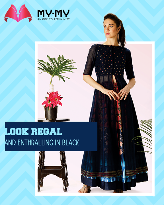 Looking for the perfect black dress to add on to your exclusive ethnic Indo-western collection? Be in haste & head over to My-My!  #BlackIsBae #RegalLook #Royal #IndoWestern #TrendingOutfits #AssortedEnsembles #AestheticPerfection #ChicAndBold #LookStellar #FascinatingFashionDestination #FemaleFashion #Ahmedabad #EthnicWear #Sparkle #Gujarat #India