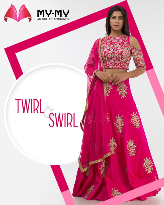 Picture yourself in a twirl-worthy timeless piece of creation! Pay a visit to My-My and hand-pick the one that clicks your eyes.  #TwirlNSwirl #TraditionalEnsembles #EthnicCollection #BridesOfIndia #BridalWear #TraditionalWear #FemaleFashion #Ahmedabad #EthnicWear #BeautifulDresses #Sparkle #Gujarat #India