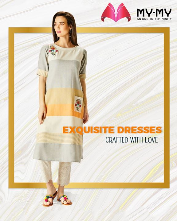 Exude a gentle charm with the exquisite dresses crafted with love by My-My.  #ExquisiteEnsembles #WinsomeDresses #InvokeElegance #RedefineSenseOfLuxury #PhilosophyOfDressing #ContemporaryFashion #FemaleFashion #Ahmedabad #FallForFashion #Sparkle #Gujarat #India