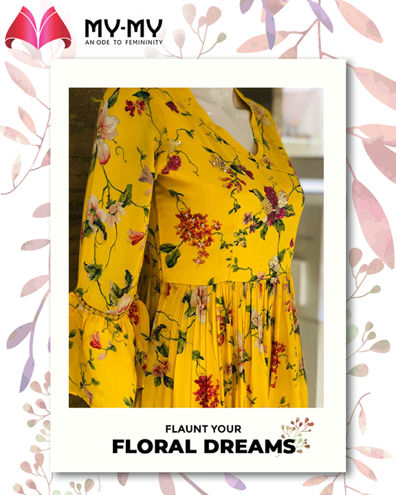Glide-on & flaunt your floral dreams with sheer confidence by donning this beautiful yellow Kurta!    #MYMYStore #SummerEssentials #SummerClothing #Summer #EverydayEssentials #Fashion #DesignerBags #Shopping #FashionStore #Gujarat #India