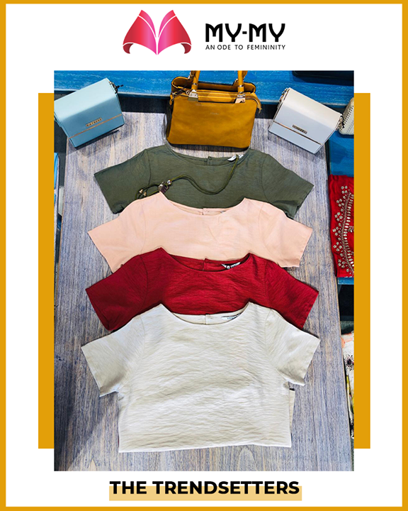 Style up with these cute & funky crop tops!   #SoftAppearances #EtherealLook #DroolworthyDesign #TrendingOutfits #AssortedEnsembles #FemaleFashion #Ahmedabad #MYMY #Gujarat #India