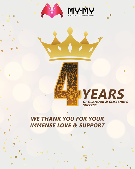 4 years of glamour & glistening success.   We thank you for your immense love & support.  #SoftAppearances #EtherealLook #DroolworthyDesign #TrendingOutfits #AssortedEnsembles #FemaleFashion #Ahmedabad #MYMY #Gujarat #India