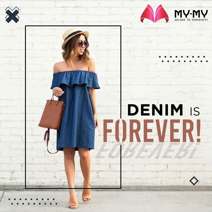 An off-shoulder Denim dress is sure to make you look like a Fashionista and it goes beyond reasons and seasons.   #MyMy #MyMyCollection #Dresses #Clothing #Fashion #Denim #DenimDress #Casual #Style #WomensFashion #ExculsiveEnsembles #ExclusiveCollection #Ahmedabad #Gujarat #India