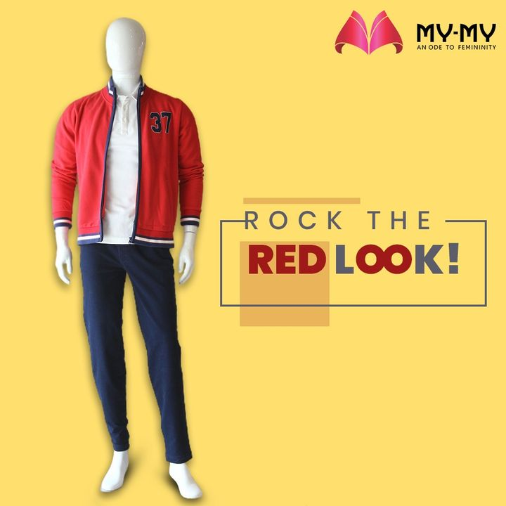 Red varsity jacket over a plain white polo t-shirt is all you need to look dashing.   #MyMy #MyMyCollection #ExclusiveCollection #MensClothing #MensFashion #FashionWear #Trendy #Shopping #Clothes #Fashion #VarsityJacket #Jacket #WhitePolo #PoloTshirt #Ahmedabad #Gujarat #India