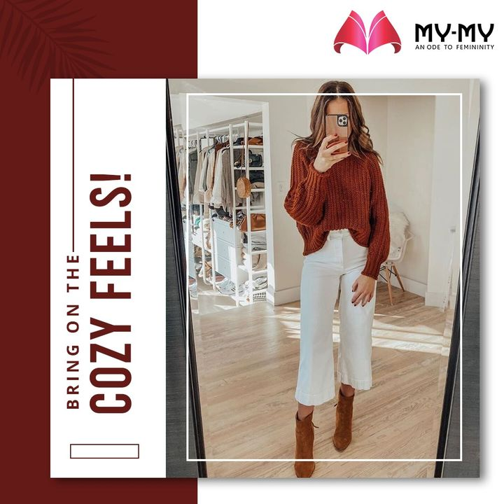 Bring on the Cozy feels with knitted sweater and matching boots.   #MyMy #MyMyCollection #Clothing #Fashion #Sweater #CozyClothes #Boots #Casual #Style #WomensFashion #ExculsiveEnsembles #ExclusiveCollection #Ahmedabad #Gujarat #India #SGHighway #CGRoad
