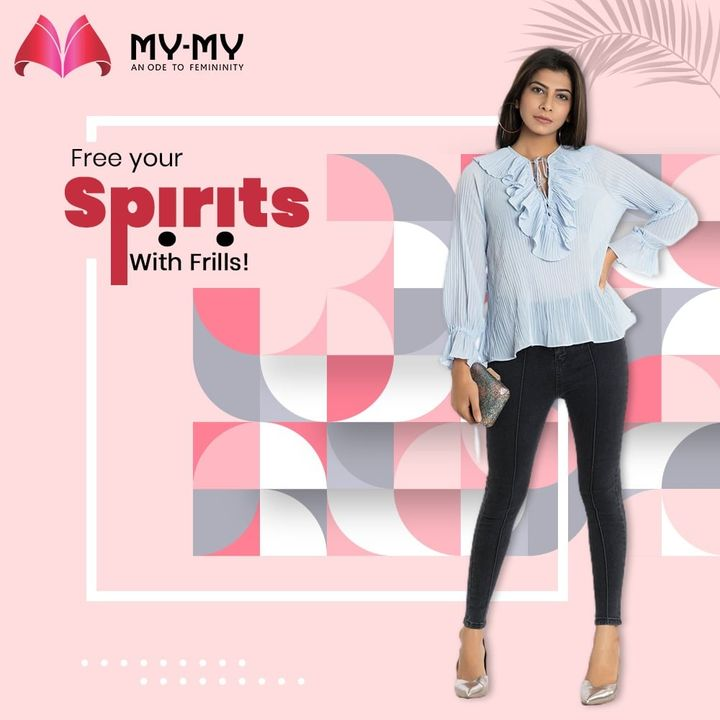 A frilled top is here to save the day and free your spirits with its breezy and young look. Let accessorizing take a break with a frilled collar and sleeves.  #MyMy #MyMyCollection #Clothing #Fashion #OOTD #FrillTop #FrilledTop #FrillSleeves #Jeans #BlackJeans #FashionTrend #Trendy #Casual #Style #WomensFashion #ExculsiveEnsembles #ExclusiveCollection #Ahmedabad #Gujarat #India
