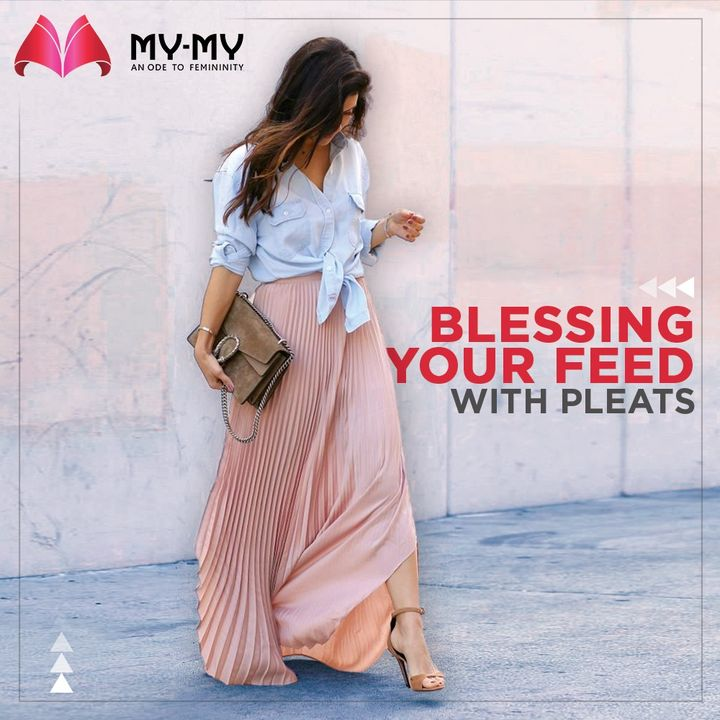 Here to bless your feed with pleats. The combination of a shirt and skirt is adorable. Paired with a statement bag and heels, this is a look to swear by.  #MyMy #MyMyCollection #Clothing #Fashion #Outfit #FashionOutfit #Top #KnotTop #PastelOutfit #WinterDresses #CasualWear #WinterOutfits #Style #WomensFashion #Ahmedabad #SGHighway #SGRoad #CGRoad #Gujarat #India