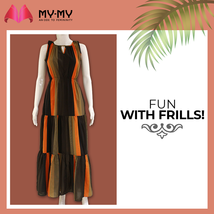 Have fun with the frills and twirl your way into the Summers with a maxi dress in warm tones.  #MyMy #MyMyCollection #Clothing #Fashion #Outfit #FashionOutfit  #MaxiDress #Dresses #Frills #CasualWear #Style #WomensFashion #Ahmedabad #SGHighway #SGRoad #CGRoad #Gujarat #India