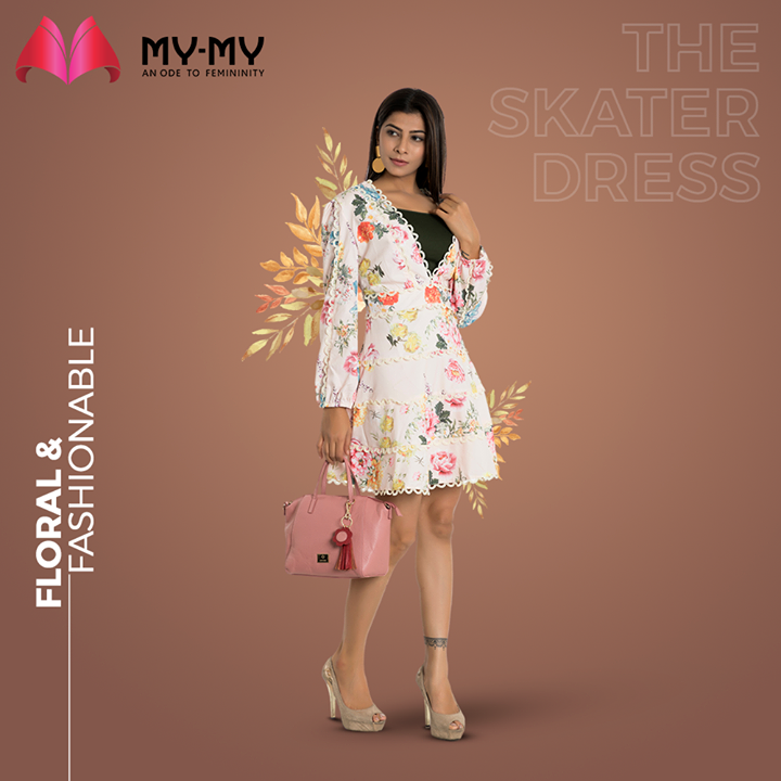 Dress up with a floral & fashionable Skater Dress and be ready to heel your way towards a fun day out with friends.   #MyMy #MyMyCollection #Clothing #Fashion #Outfit #FashionOutfit #FloralDress #Dresses #CasualWear #SkaterDress  #Style #WomensFashion #Ahmedabad #SGHighway #SGRoad #CGRoad #Gujarat #India