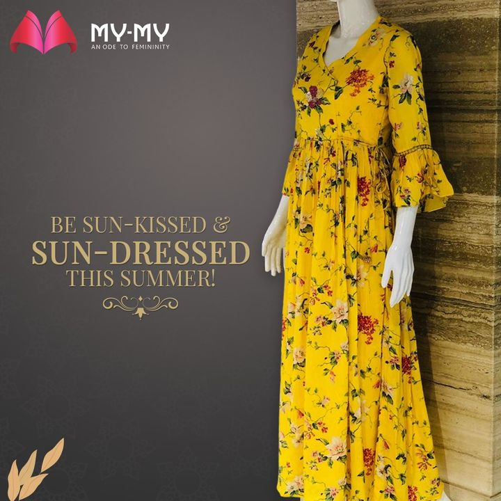 Adorn this beautiful & bright sunny dress, perfect and practical for the Summer Season. The crochet detail on the sleeves and the frilled look gives an alluring effect along with the cinching fit.   #MyMy #MyMyCollection #Clothing #Fashion #Outfit #FashionOutfit #FloralDress #Dresses #CasualWear #Style #SummerDress #YellowDress #ExplorePage #WomensFashion #Ahmedabad #SGHighway #SGRoad #CGRoad #Gujarat #India