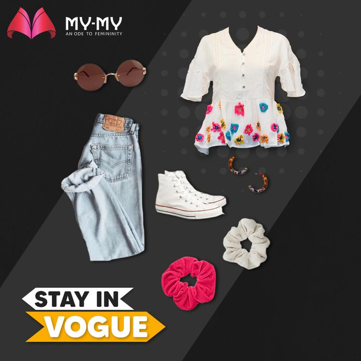 Stay in Vogue with Outfits that'll transform you into a fashioninsta in an instant! The Mom Jeans look with a floral top, converse shoes, scrunchies and sunglasses can never go wrong!   #MyMy #MyMyCollection #Clothing #Fashion #Outfit #FashionOutfit #Vogue #OOTD #Jeans #Tops #CasualWear #Style #SummerDress #Scrunchie #ExplorePage #WomensFashion #Ahmedabad #SGHighway #SGRoad #CGRoad #Gujarat #India