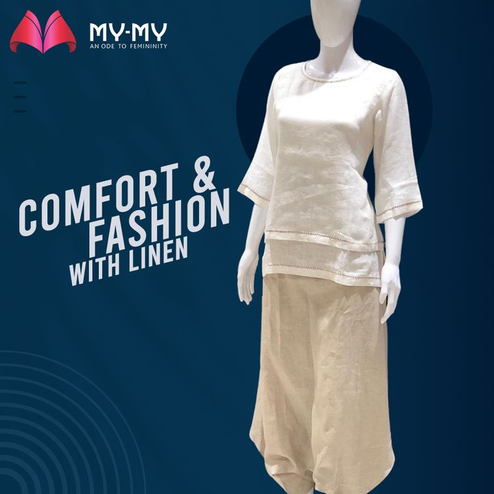 Get the comfort you crave in the hot weather with Linen Outfits that are not just practical but also fashionable. The creamy tones on this outfit paired with some sandals and a top-bun will turn up to be a head-turning OOTD.  #MyMy #MyMyCollection #Clothing #Fashion #Outfit #FashionOutfit #Vogue #OOTD #CasualWear #Style #SummerDress #Scrunchie #ExplorePage #WomensFashion #Ahmedabad #SGHighway #SGRoad #CGRoad #Gujarat #India