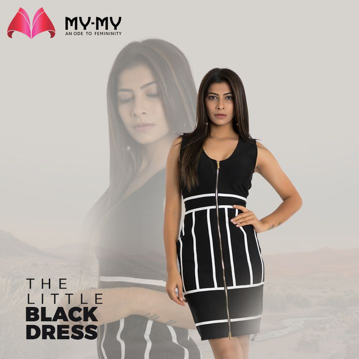 One is never over-dressed, nor under-dressed with a Little Black Dress. This LBD with a zipper structure & white stripes makes it even more enticing.  #MyMy #MyMyCollection #Clothing #Fashion #Outfit #FashionOutfit #LBD #BlackDress #Dresses #CasualWear #SkaterDress #Style #WomensFashion #Ahmedabad #SGHighway #SGRoad #CGRoad #Gujarat #India