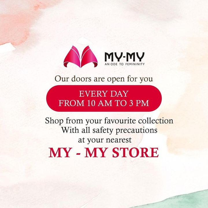 We are now open.  Shop with all safety precautions from 10 AM to 3 PM.  See you at your nearest My-My store. . . . . #MyMy #MyMyCollection #reopening #Clothing #Fashion #Outfit #FashionOutfit #summerwear #nightwear #intimatewear #swimwear #cosmetics #swimwearfashion #summeroutfits #Style #fashioninahmedabad  #ahmedabadclothing #ahmedabadfashion #gujaratfashion #WomensFashion #Ahmedabad #SGHighway #SGRoad #CGRoad #Gujarat