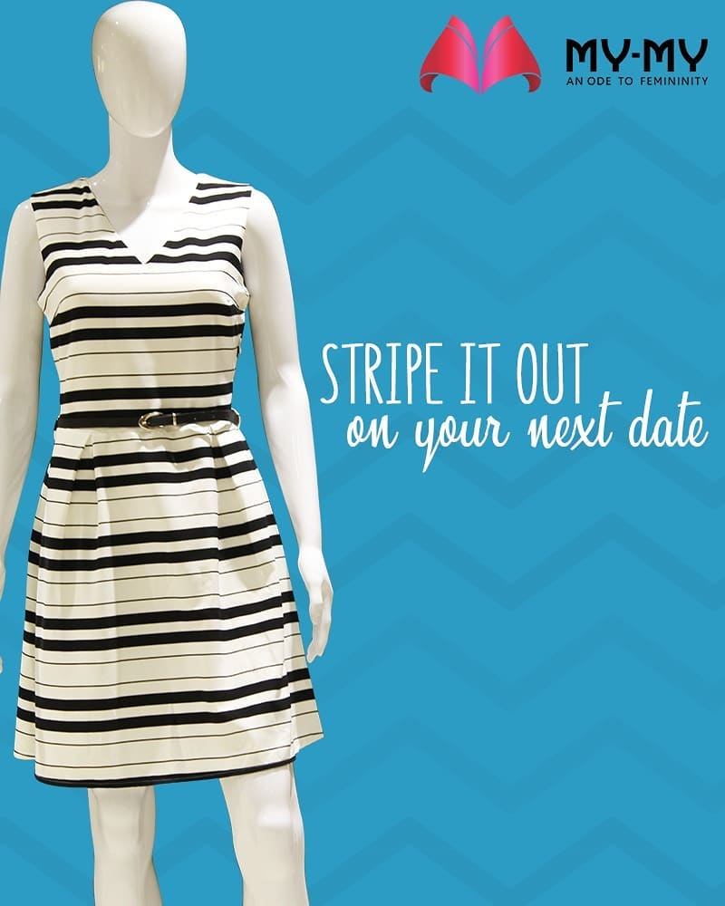 Stripes are always in vogue!  #MyMy #FashionTrends #MyMyAhmedabad #Fashion #Ahmedabad #Stripe #dress #Dat #DateDress #OOTD #DOTD #LOTD #AhmedabadFashion #Fashionista