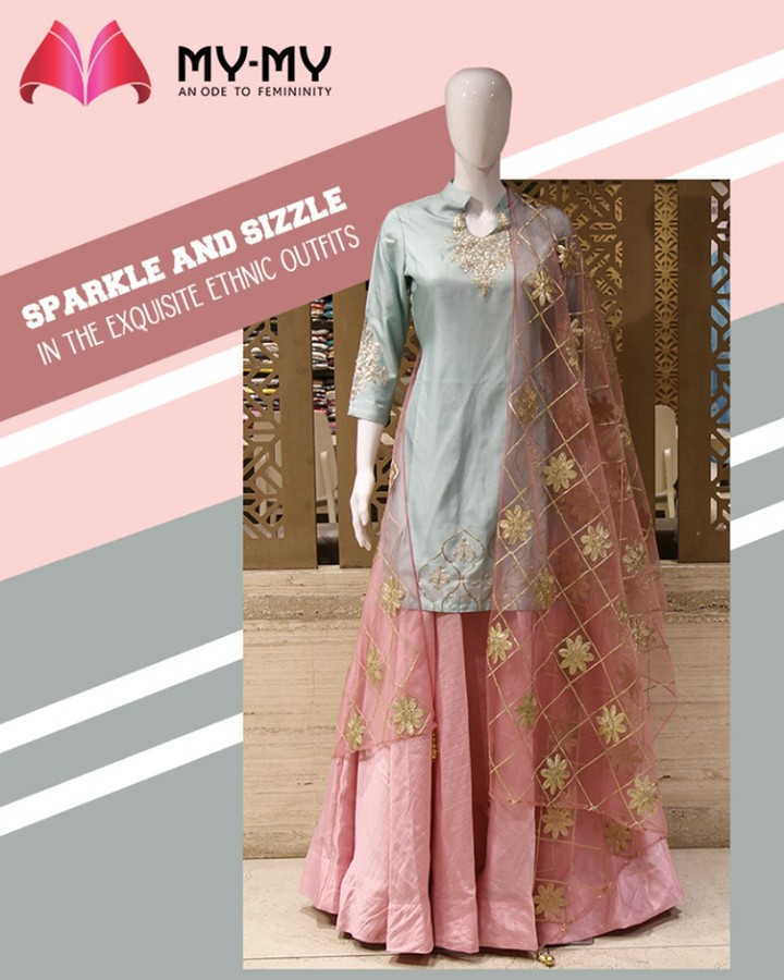 Sparkle, sizzle and look your best in the exquisite ethnic outfits from My-My  #TrendingOutfits #AssortedEnsembles #AestheticPerfection #ImpeccableOutfits #LookStellar #FascinatingFashionDestination #FemaleFashion #Ahmedabad #EthnicWear #Sparkle #Gujarat #India
