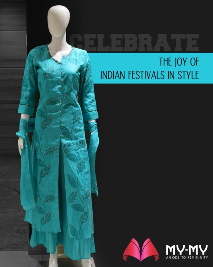 With so many festivals coming up in the queue, is your wardrobe festive ready?  Celebrate the joy of Indian festivals in style with outfits from My-My.  #ExquisiteEnsembles #WinsomeDresses #InvokeElegance #RedefineSenseOfLuxury #PhilosophyOfDressing #ContemporaryFashion #FemaleFashion #Ahmedabad #FallForFashion #BeautifulDresses #Sparkle #Gujarat #India