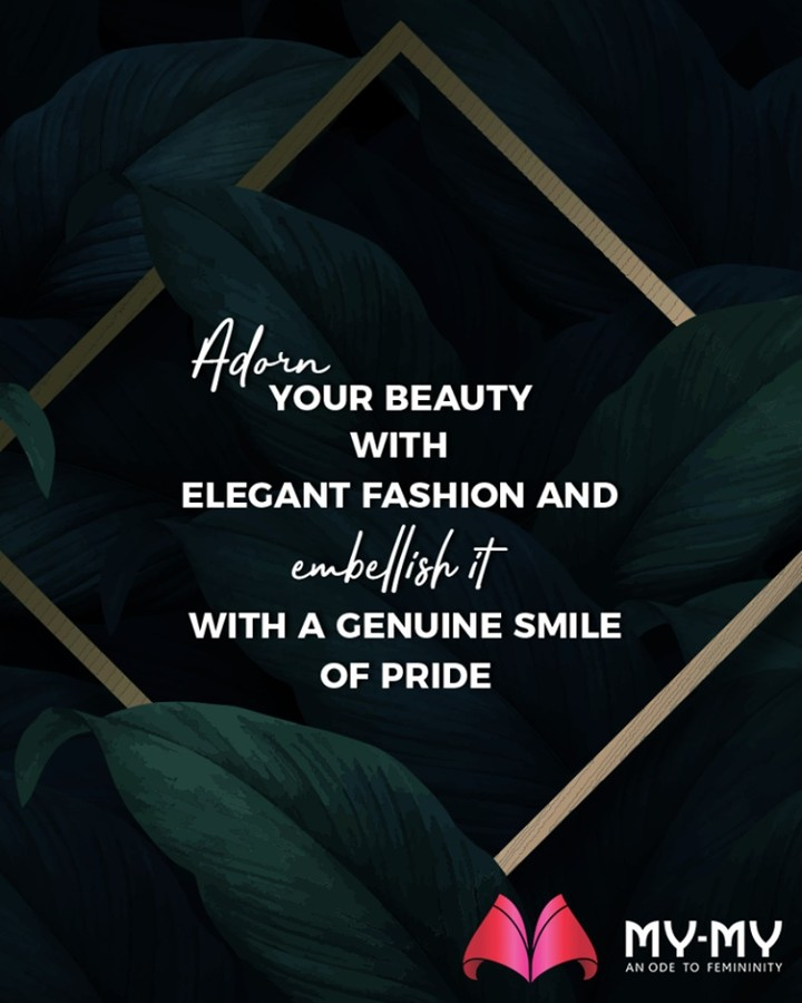 "Looking for some fashion inspiration this morning?  My-My brings you one, ""Adorn your beauty with elegant fashion & embellish it with a genuine smile of pride."" #QOTD #FashionQuote #StayStylish #GlamUpGlamourGame #TrendingOutfits #AssortedEnsembles #AestheticPerfection #FemaleFashion #Ahmedabad #BeautifulDresses #Sparkle #Gujarat #India"