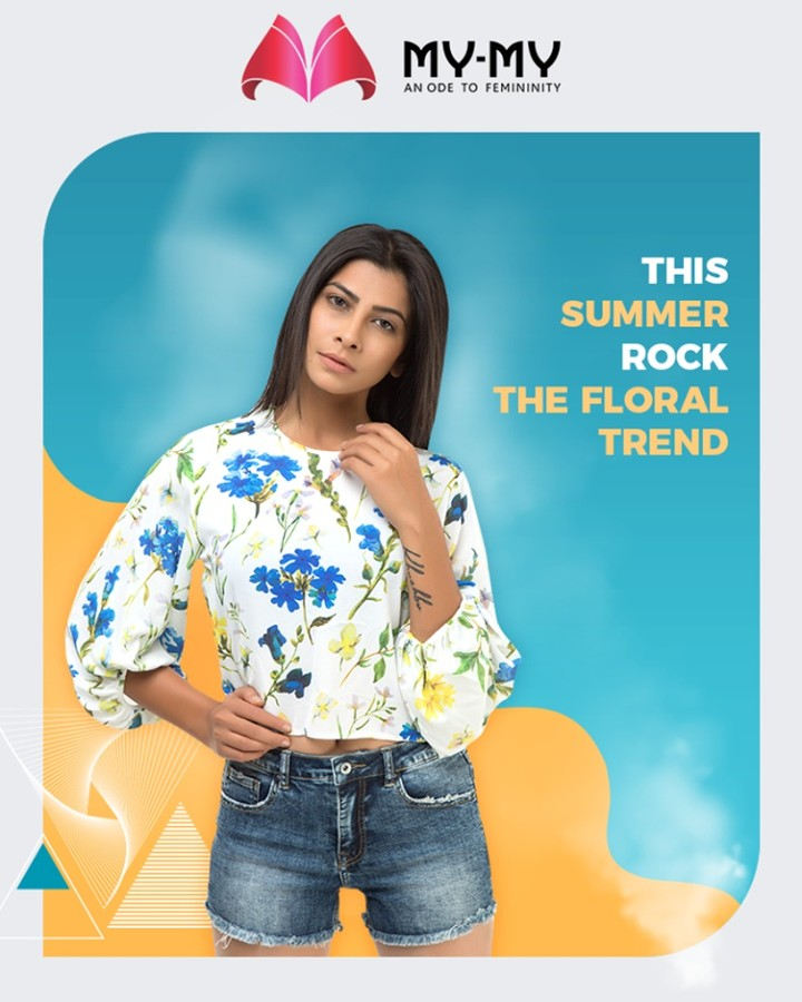 The appealing & alluring floral trend still continues to dominate the summer fashion! This summer rock the floral trend with My-My.  #SummerTrends #FloralPrints #DroolworthyDesign #TrendingOutfits #AssortedEnsembles #FemaleFashion #SummerColours #SummerWardrobe #Ahmedabad #MYMY #Gujarat #India