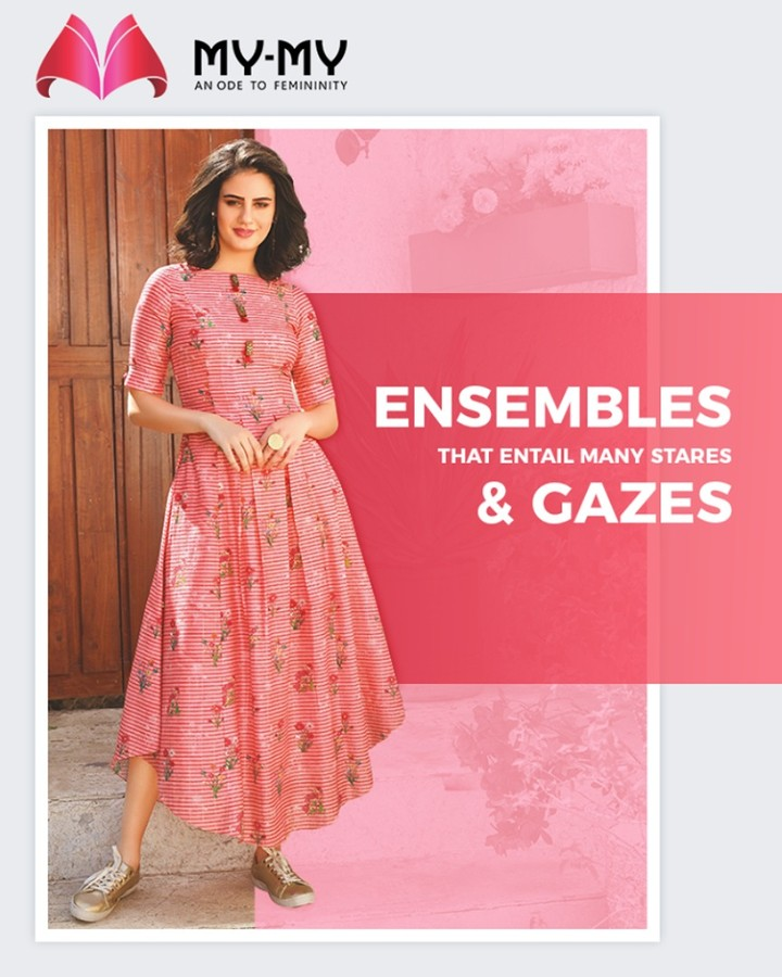 Let your style be defined with the ensembles that entail many stares & gazes from My-My.  #DroolworthyDesign #TrendingOutfits #AssortedEnsembles #FemaleFashion #SummerColours #SummerWardrobe #Ahmedabad #MYMY #Gujarat #India
