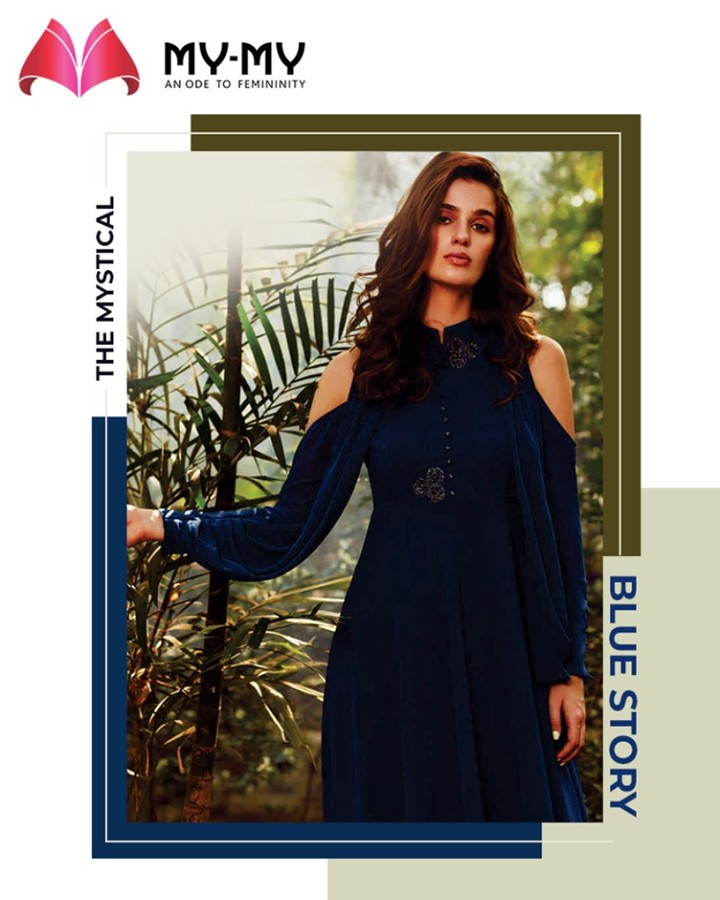 Some dark blues for the boss ladies! Flaunt your utter flamboyant personality by adorning this long-dark blue attire.  #TrendingOutfits #AssortedEnsembles #FemaleFashion #SummerColours #SummerWardrobe #Ahmedabad #MYMY #Gujarat #India