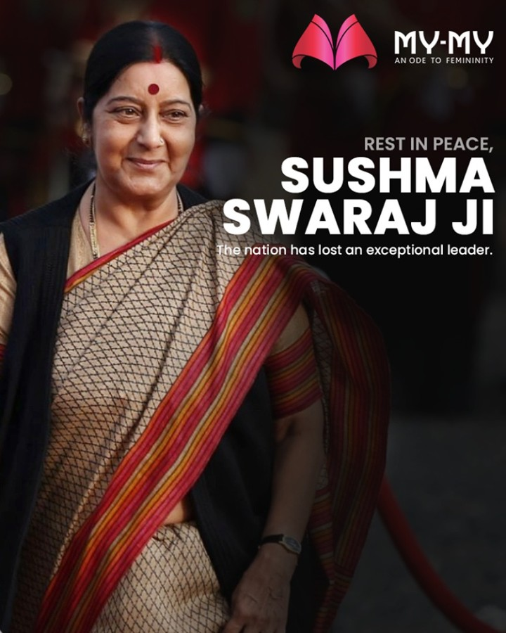 The nation has lost an exceptional leader. Rest in peace, Sushma Swaraj Ma'am.  #RIPSushmaSwaraj #RIPSushmaJi #IronLady #SushmaSwarajji #MyMy #MyMyCollection #ExculsiveEnsembles #ExclusiveCollection #Ahmedabad #Gujarat #India