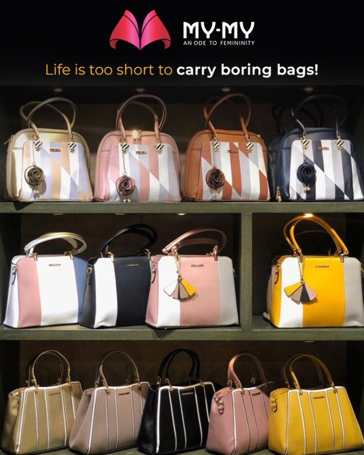 Life is too short to carry boring bags!  #SoftAppearances #EtherealLook #DroolworthyDesign #TrendingOutfits #AssortedEnsembles #FemaleFashion #Ahmedabad #MYMY #Gujarat #India