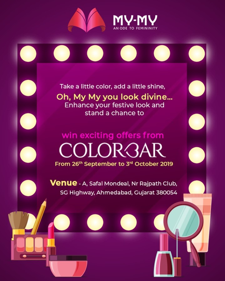 Take a little color, add a little shine, Oh, My-My you look divine…This festive season, look like a dazzling-diva with the head-turning makeover of Colorbar & stand a chance to win something exciting! P.S. This makeover is for free & you cannot afford to miss this!  #Colorbar #Makeover #Makeup #Accessories #NavratriOffer #NavratriLook #FestiveLook #FestiveFling #BeautyMYMY #Gujarat #India