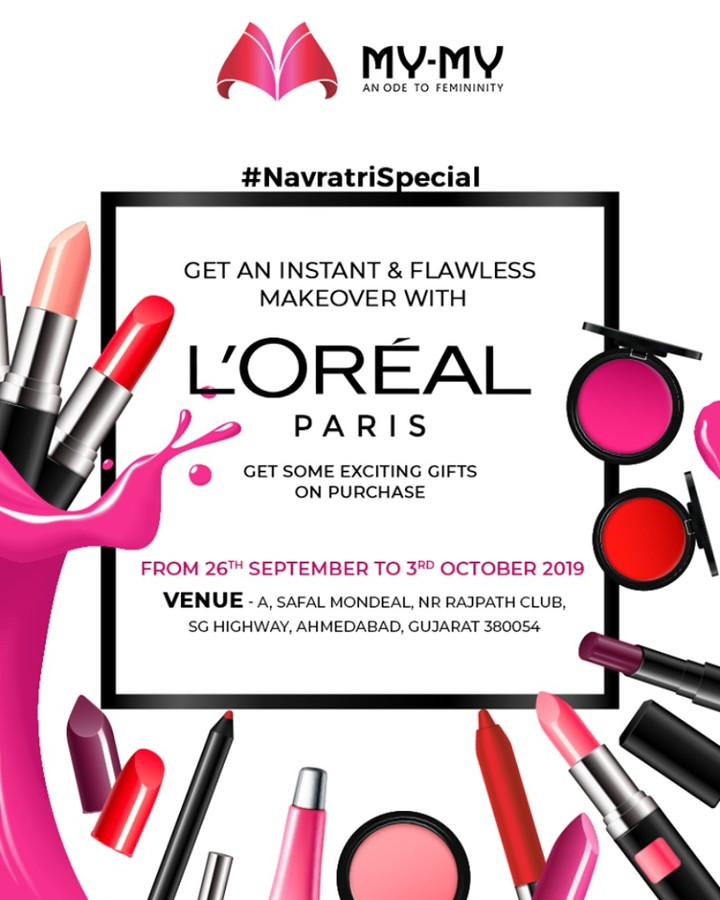 Strut your elegant look like a dazzling-diva with the head-turning makeover of Loreal & stand a chance to win something exciting!  P.S. This makeover is for free & you cannot afford to miss this!  #Makeover #Makeup #Accessories #NavratriOffer #NavratriLook #FestiveLook #FestiveFling #BeautyMYMY #Gujarat #India