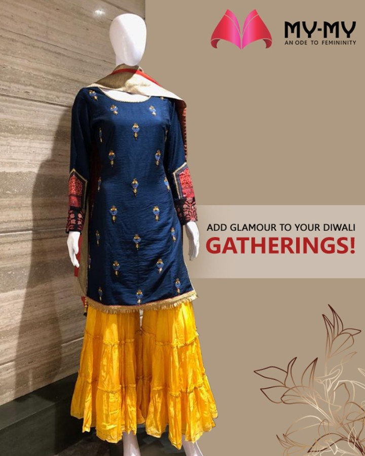 Add glamour to your Diwali Gatherings with this glittering outfit!  #MyMy #MyMyCollection #ExculsiveEnsembles #ExclusiveCollection #Ahmedabad #Gujarat #India