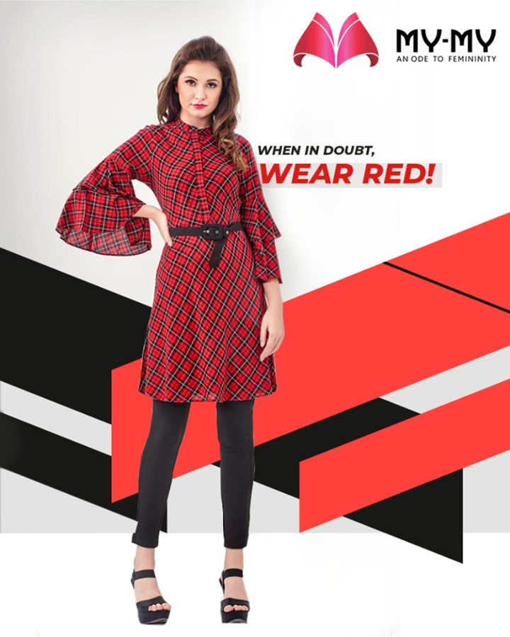 Stand-out from the crowd with this ravishing red outfit!  #TrendingOutfits #AssortedEnsembles #AestheticPerfection #ImpeccableOutfits #LookStellar #Fascinating #FashionDestination #FemaleFashion #Ahmedabad #MYMY #Gujarat #India