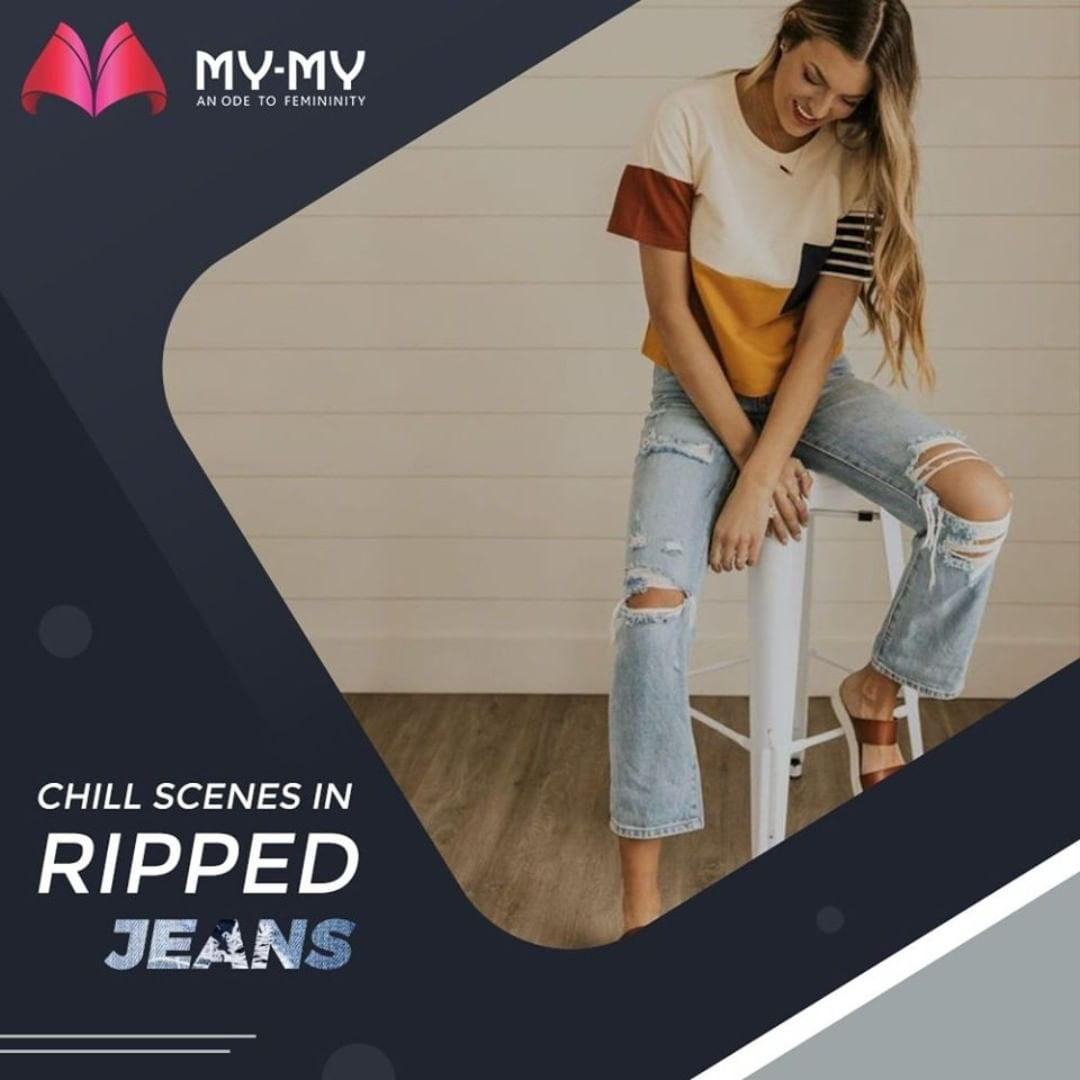 Comfort comes in style with ripped jeans! Make your chilling scenes much more fun with a combination of Ripped Jeans and a Comfy Tee!  #MyMy #MyMyCollection #EthnicCollecton #ExculsiveEnsembles #ExclusiveCollection #Ahmedabad #Gujarat #India