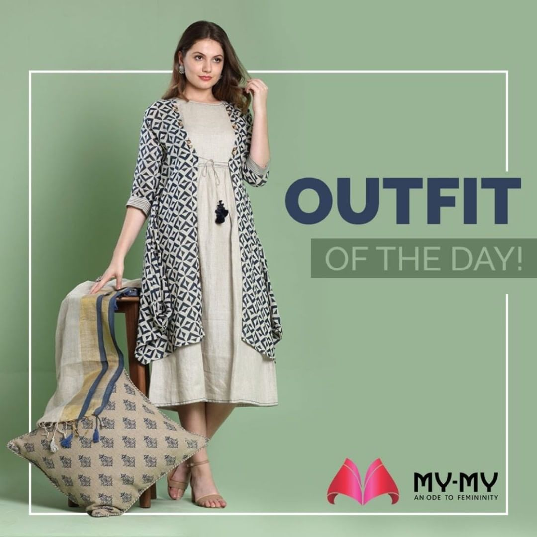 Life isn't perfect but your outfit can be! Adorn this ethnic yet modern look with symmetrical pattern and complete the look with elegant earrings and a smile.  #MyMy #MyMyCollection #EthnicCollecton #ExculsiveEnsembles #ExclusiveCollection #Ahmedabad #Gujarat #India