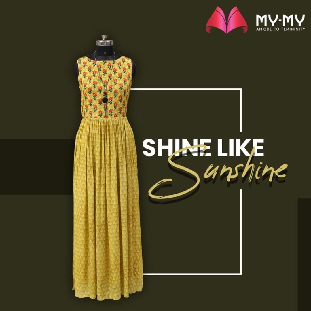 Shine like a Sunshine in this bright yellow attire with orange floral patterns on top of the gown.  #MyMy #MyMyCollection #Clothing #Fashion #Ethnic #EthnicWear #Gown #Dress #Style #WomensFashion #ExculsiveEnsembles #ExclusiveCollection #Ahmedabad #Gujarat #India