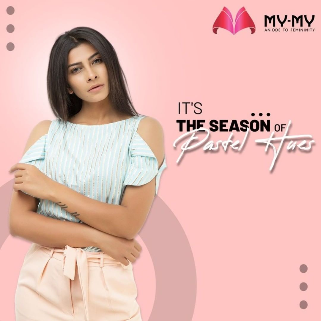 Groove to the beats of this Season with Pastel Hues. A pastel cold shoulder top and pastel bottom are a perfect match!  #MyMy #MyMyCollection #Clothing #Fashion #Tops #Pants #ColdShoulder #Pastel #Casual #Style #WomensFashion #ExculsiveEnsembles #ExclusiveCollection #Ahmedabad #Gujarat #India