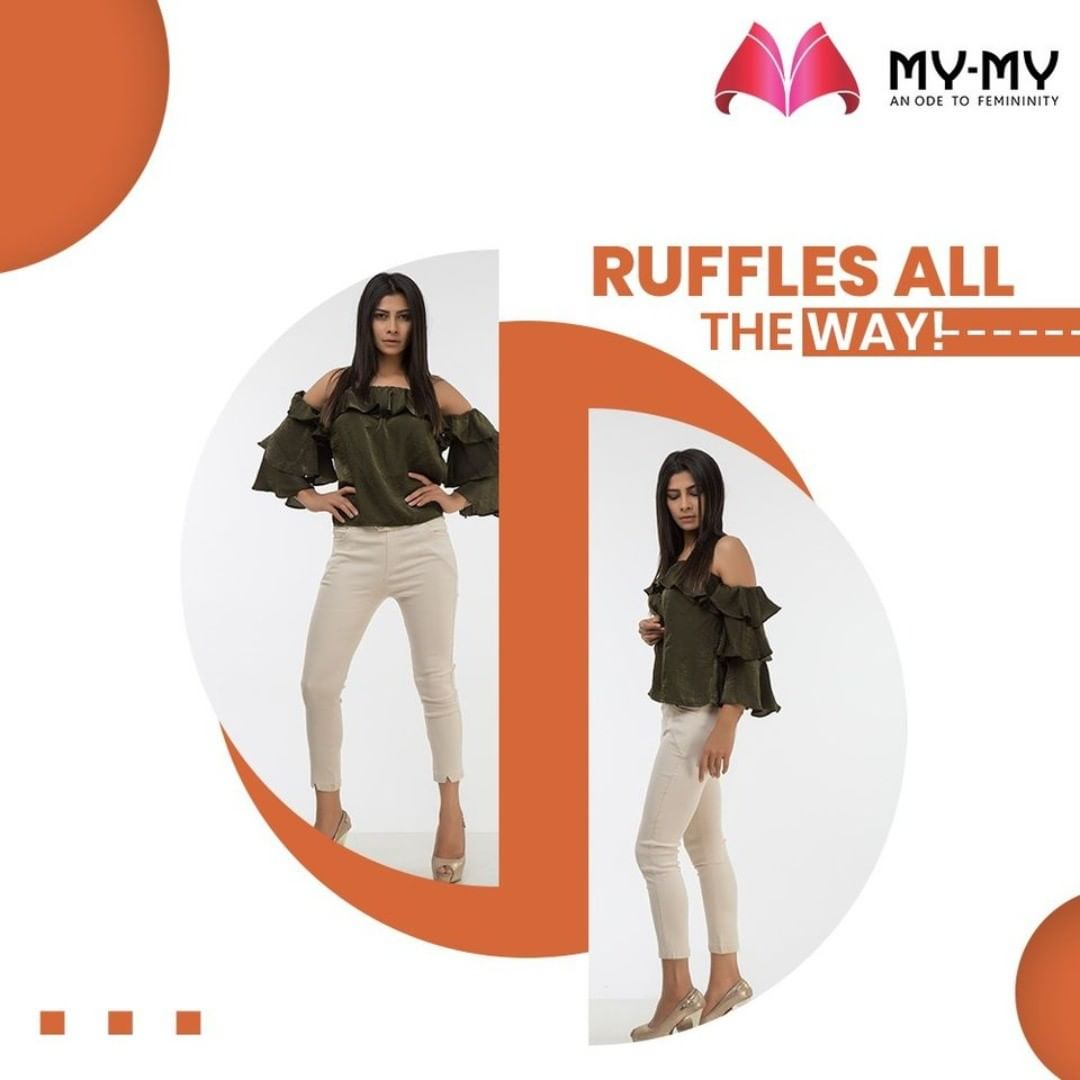 Newness is in how ruffles are placed each season, such as on sleeves, the waist of a blouse or as a detail on the front of a top.  #MyMy #MyMyCollection #Clothing #Fashion #Tops #Jeans #Fancy #Ruffles #RuffledTop #Shirts #Casual #Style #WomensFashion #ExculsiveEnsembles #ExclusiveCollection #Ahmedabad #Gujarat #India