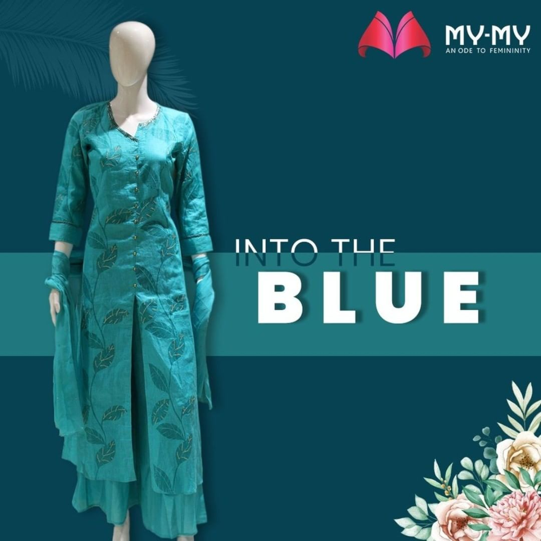 Calm your senses with a calming tone of blue in a monotone Kurti-Palazzo combo with a hint of gold.  #MyMy #MyMyCollection #Clothing #Fashion #Ethnic #Kurti #Palazzo #KurtiPalazzo #Style #WomensFashion #ExculsiveEnsembles #ExclusiveCollection #Ahmedabad #Gujarat #India