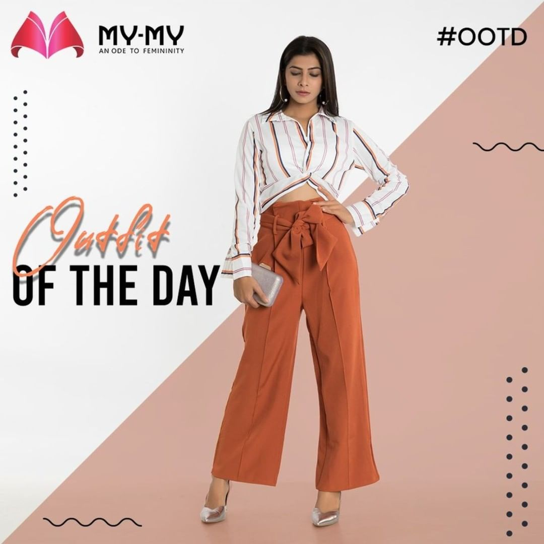 Outfit of the Day: Cropped Shirt with a High Rise Pants.  #MyMy #MyMyCollection #Clothing #Fashion #Tees #CropShirt #CropTops #Shirt #HighRisePants #Top #Pants #OfficeLook #Casual #Style #WomensFashion #ExculsiveEnsembles #ExclusiveCollection #Ahmedabad #Gujarat #India