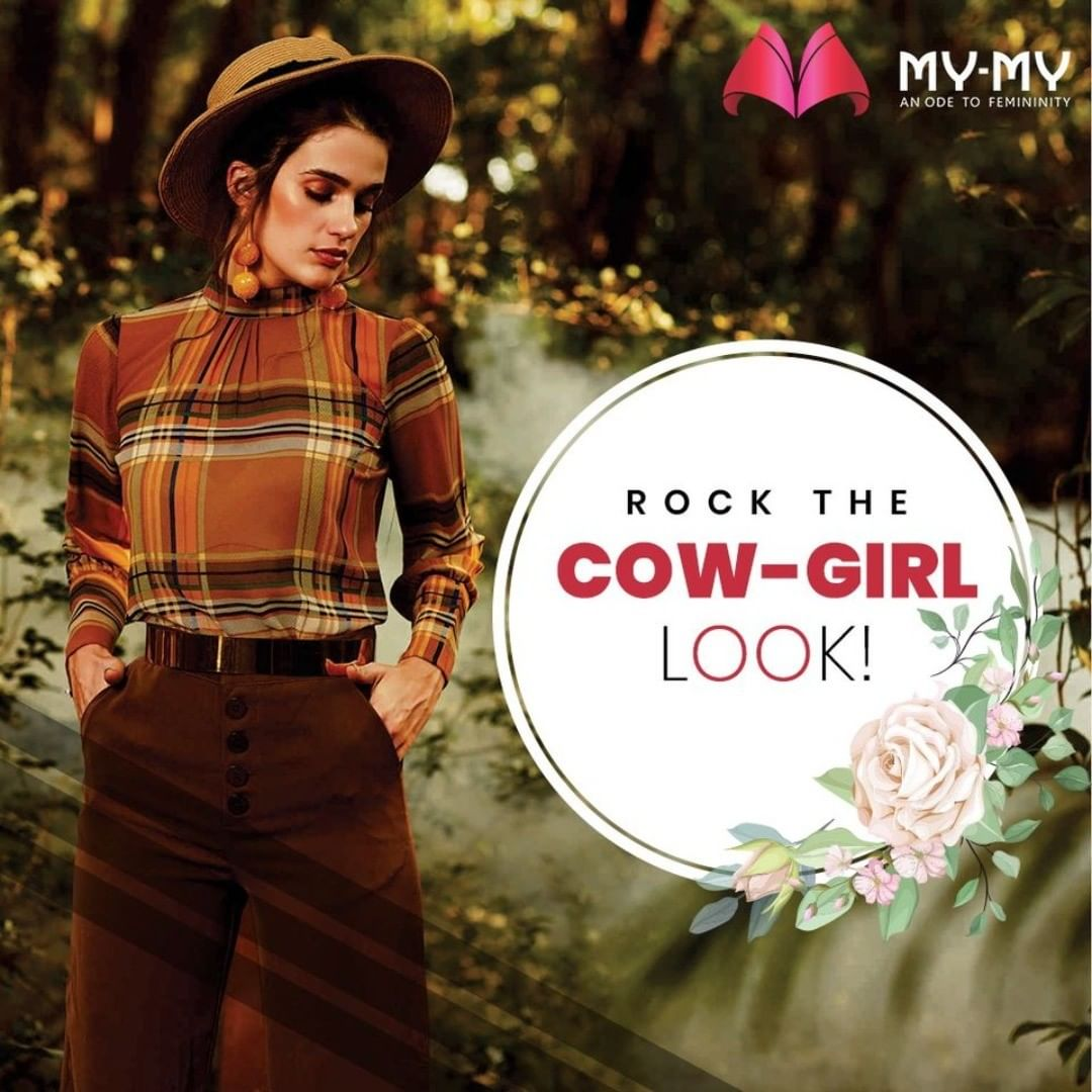 Checkered Top + Corduroy Trousers + Hat = The Perfect Cow-Girl Look.  #MyMy #MyMyCollection #Clothing #Fashion #CowGirlLook #Hat #CheckShirt #CheckTop #CorduroyPant #Corduroy #Casual #Style #WomensFashion #ExculsiveEnsembles #ExclusiveCollection #Ahmedabad #Gujarat #India