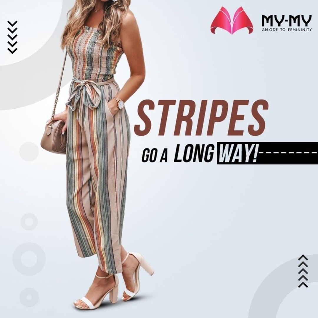 Stripes is a fashion trend that will never end! Wear a stripped jumpsuit and make your OOTD more stylish.  #MyMy #MyMyCollection #Clothing #Fashion #OOTD #Stripes #StrippedJumpsuit #Jumpsuit #FashionTrend #Trendy #Casual #Style #WomensFashion #ExculsiveEnsembles #ExclusiveCollection #Ahmedabad #Gujarat #India