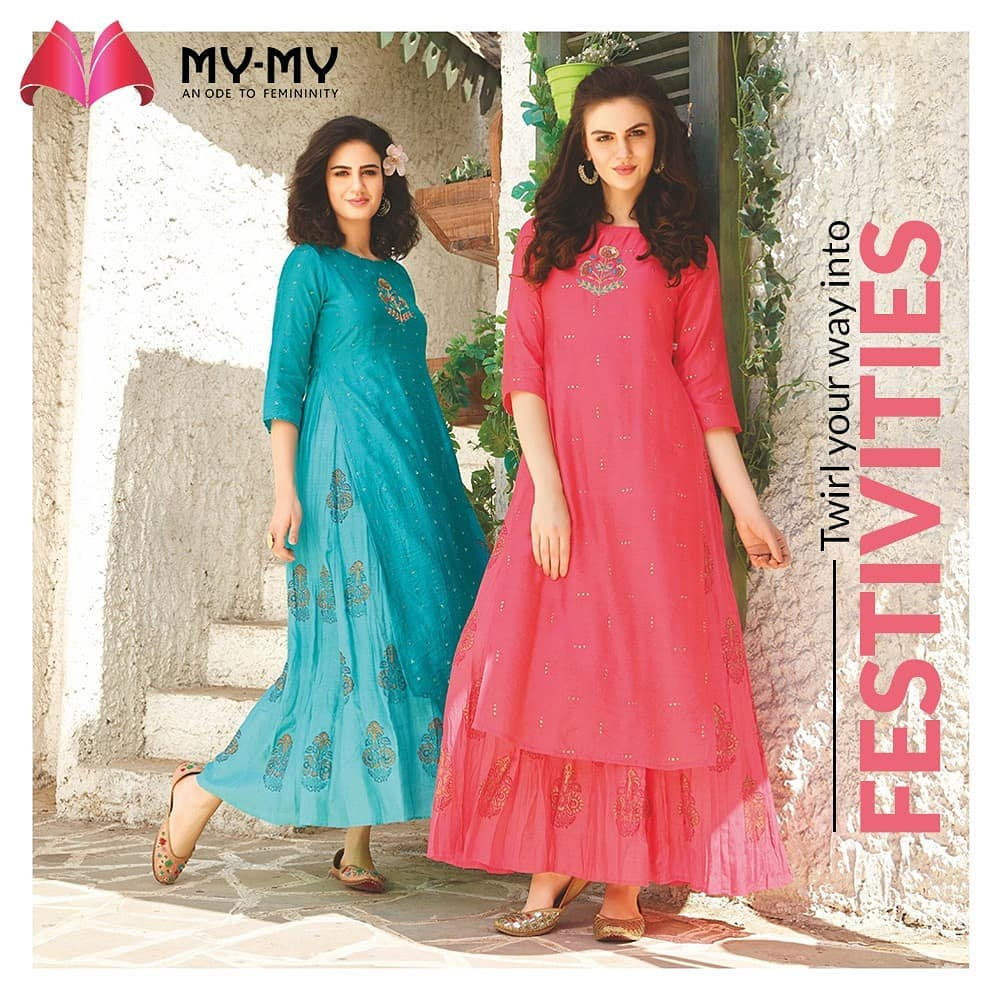 Flared Kurtis for the Girls who like to twirl.  Shades of blue and pink are the perfect colors that work beyond reasons and seasons.  #MyMy #MyMyCollection #Clothing #Fashion #Ethnic #Kurti #FlaredKurti #Palazzo #KurtiPalazzo #Style #WomensFashion #ExculsiveEnsembles #ExclusiveCollection #Ahmedabad #Gujarat #India