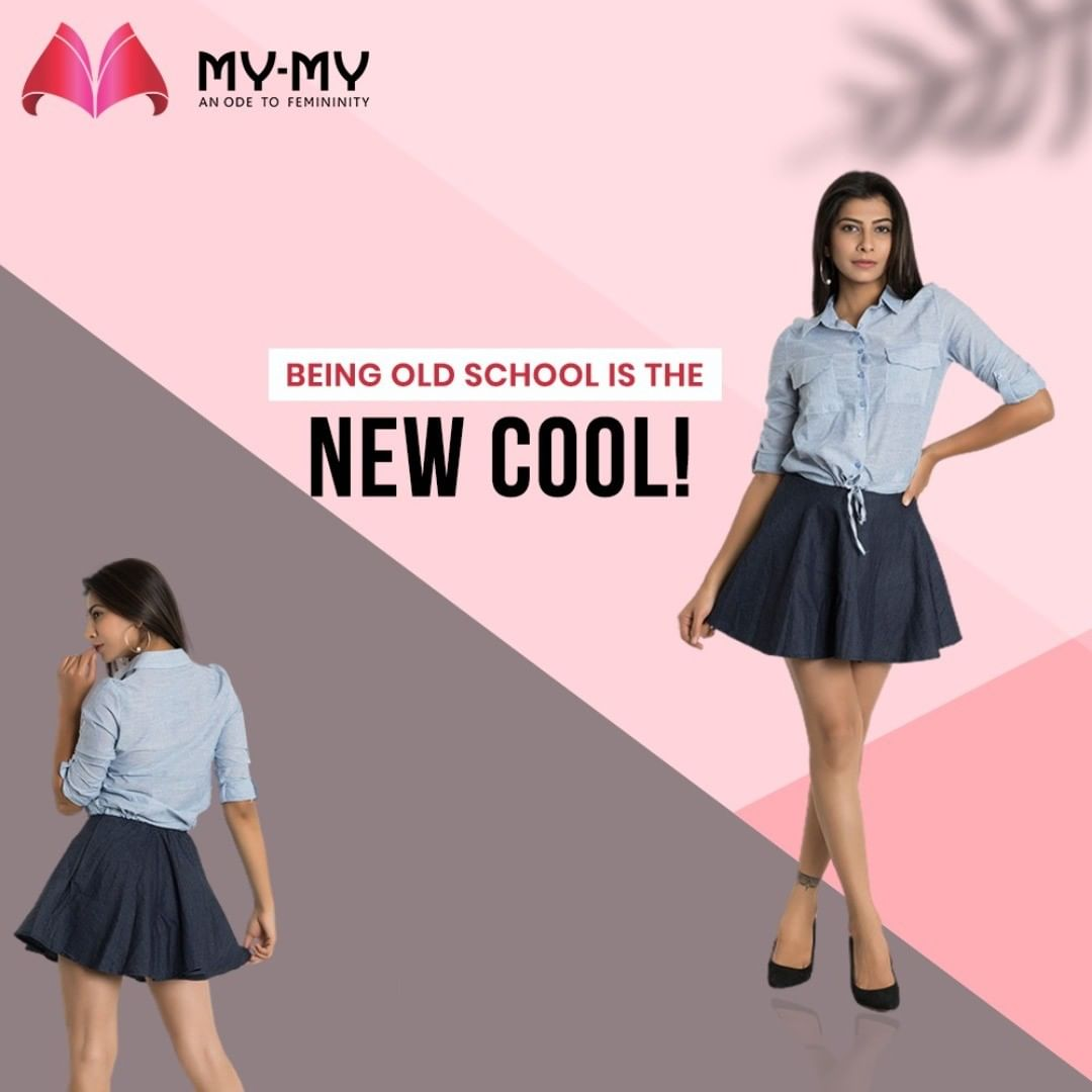 A knotted shirt with a short pleated skirt will never go out of style. Turn eyes as you walk into a room with this alluring OOTD.   #MyMy #MyMyCollection #Clothing #Fashion #OOTD #Skirt #Shirt #OldSchool #FashionTrend #Trendy #Casual #Style #WomensFashion #ExculsiveEnsembles #ExclusiveCollection #Ahmedabad #Gujarat #India