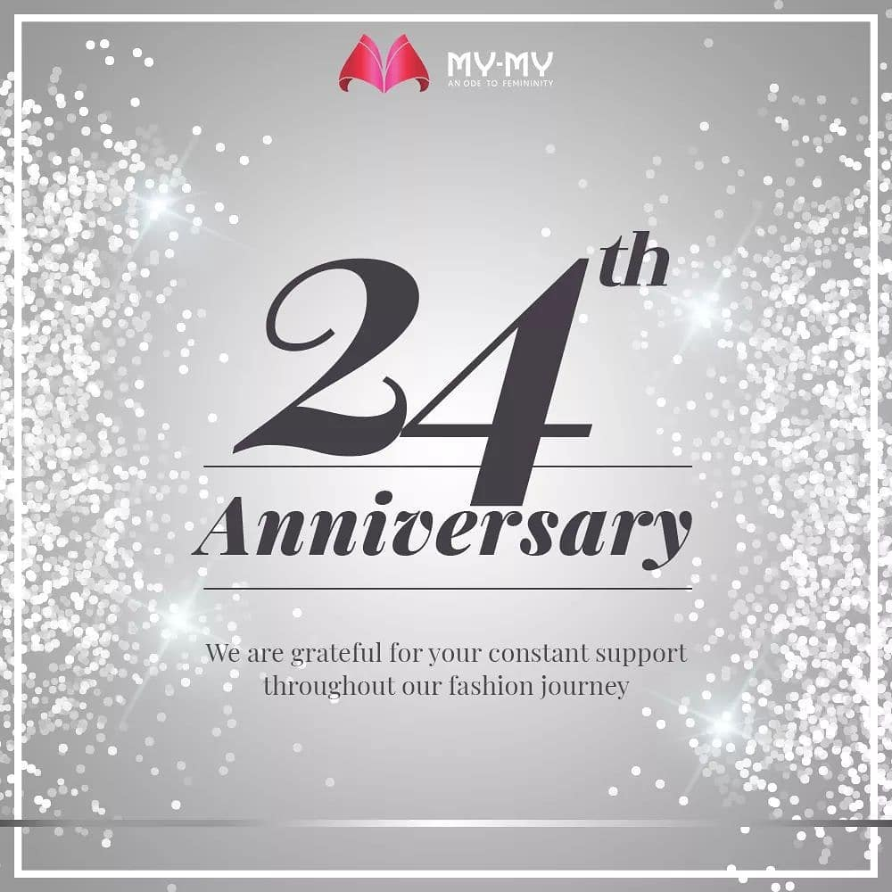 Today, we celebrate our 24th Anniversary, an impeccable journey of growth.  We are thankful and overwhelmed by the tremendous support of our esteemed patrons received through all these years! It has continuously inspired us to serve better and kept us motivated to bring in new fashion trends in the city.   We are and will always be committed to serving you with latest fashion apparels in the city.   #24thAnniversary #Anniversary #MyMyAnniversay #MyMy #MyMyCollection #Fashion #FashionDestination #AhmedabadFashion #MyMyShowroom #Ahmedabad #Gujarat #India #SGHighway #CGRoad