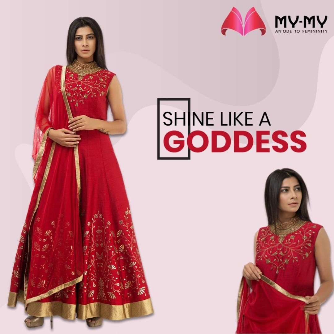 Let the festive vibes take over your wardrobe! Shine like a Goddess in this elegant red Anarkali with golden embellishments and a gorgeous flare.   #MyMy #MyMyCollection #Clothing #Fashion #Ethnic #Kurti #FlaredKurti #Anarkali #KurtiPalazzo #Style #WomensFashion #ExculsiveEnsembles #ExclusiveCollection #Ahmedabad #Gujarat #India