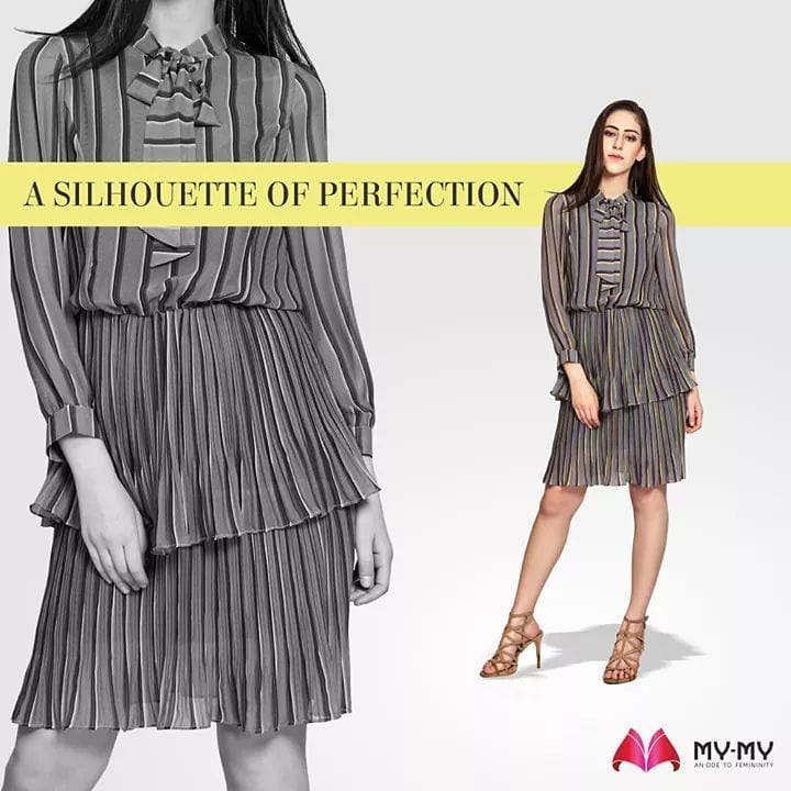 Adorn a beautiful stripped dress with long sleeves and a cinching silhouette which makes you look put together and is perfect for the upcoming Winter Season too!  #MyMy #MyMyCollection #Clothing #Fashion #Outfit #FashionOutfit #Dress #StrippedDress #FestiveDress #Style #WomensFashion #Ahmedabad #SGHighway #SGRoad #CGRoad #Gujarat #India