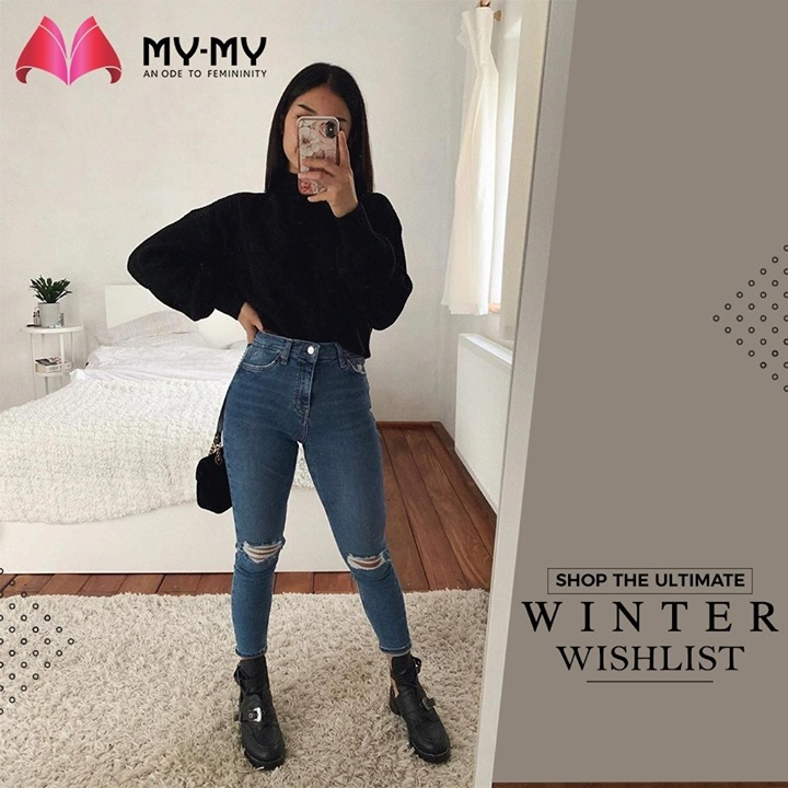 With Winters around the corner, shop your Ultimate Winter Wishlist at My-My. Tucked in sweaters with a high-waist jeans makes up for a trendy yet functional outfit.   #MyMy #MyMyCollection #Clothing #Fashion #Outfit #FashionOutfit #Top #Sweater #RippedJeans #WinterOutfits #Style #WomensFashion #Ahmedabad #SGHighway #SGRoad #CGRoad #Gujarat #India